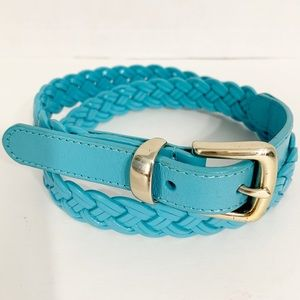 Talbots Leather Braided Belt  with Silver Buckle